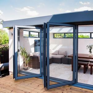 Blue Bi-Fold Doors